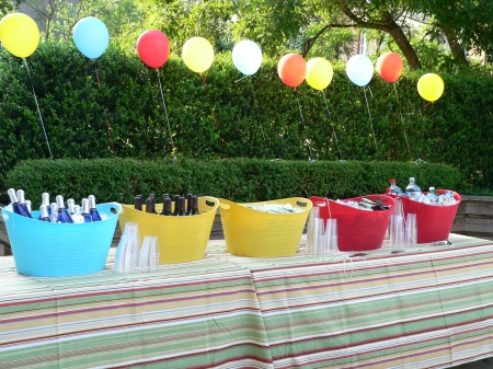 balloons, beverages and buckets